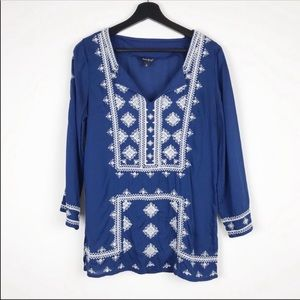 Lucky Brand Tops - Lucky Brand Blue Embroidered Tunic Style Top S D11